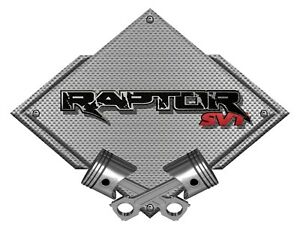 Steel Metal Sign Ford F 150 Raptor Svt Truck Badge Silver Diamond Pistons 12x9
