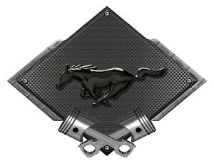 Mustang Pony Black Look Black Carbon Diamond Metal Sign Ford Licensed