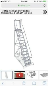 13 Step Rolling Safety Ladder Unassembled With 20 Top Step H 1555 20