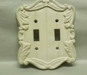 Chic Cast Iron Double Light Switch Cover Ivory