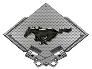 Metal Sign Mustang Pony Black Look Silver Carbon Diamond Ford Licensed