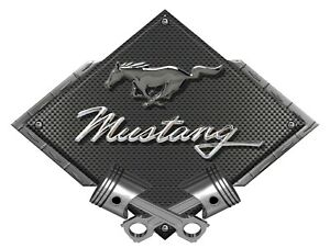 Metal Sign Mustang Pony Script Black Chrome Black Carbon Diamond Ford Licensed