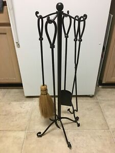 Wrought Iron Fireplace Tools Stylish Ornate Set In Excellent Condition