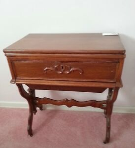 Unusual Antique 2 Drawer Sewing And Or Game Table