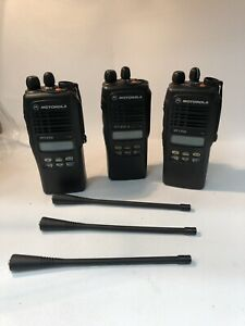 Lot Of 3x Motorola Ht1250 Vhf Portable Radios W batteries Aah25kdf9aa5an