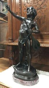 Beautiful Large French Bronze Statue Signed By Auguste Moreau 1834 1917