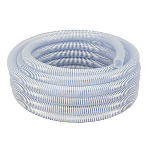 2 X 50 Flexible Pvc Water Suction Discharge Hose Clear W white Helix
