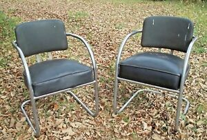 Pair Of Vintage Kem Weber 1930 S Art Deco Chromed Steel Curved Arm Armchairs
