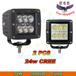 2x 3 24w Cree Led Work Light Flood Lamp Cube Pod Offroad 4wd Driving Truck Suv