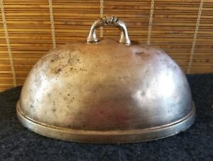 Oval Food Dome Cover 8 3 4in X 5 7 8in French Country Chic Silver Patina
