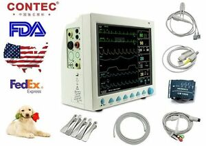 Us Stock fda Cms8000 vet Patient Monitor Veterinary Ecg nibp resp temp spo2 pr