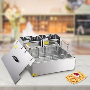 20l Electric Countertop Deep Fryer Stainless Steel Single Large Tank Basket