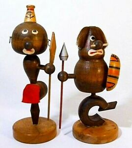 Mid 20th C Vint Pair Hawaiian Tiki Bobblehead Tribal Wood Figs W Spears Japan
