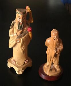 2 Vintage Chinese Hand Carved Hand Painted Wood Immortal Statues