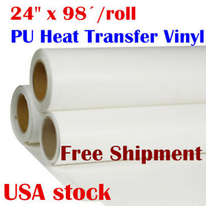 24 x98ft Pu Heat Transfer Vinyl Htv Roll T shirts Press Iron On White Printable