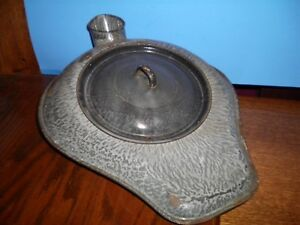 Antique Hospital Enamelware Bed Pan Lid Gray Speckled Chamber Pot Urinal