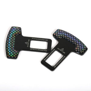 Universal Carbon Fiber Car Safety Seat Belt Buckle Alarm Stopper Clip Clamp Us