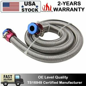 3 8 Inch 3ft Braided Stainless Steel Gas Oil Fuel Line Hose Fitting Clamps Kit