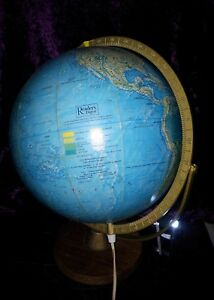 Rare Vintage Post Antique Ariel Scan Terrestrial Globe World Table Lamp C 1969