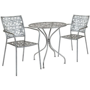 27 5 Round Antique Silver Steel Outdoor Restaurant Table Set With 2 Stack Chair