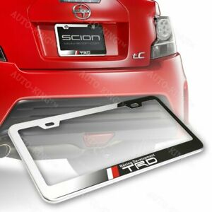 For Toyota Trd Stainless Steel Chrome Rust Free License Plate Frame W Caps Bolt