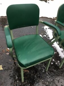 United Chair Vtg Industrial Arm Eames Modern Set Green 2 Miller Mid Century
