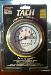 Superpro 1260 Tachometer 3 1 2 White Face Chrome Bezel