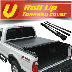 Fits 2007 2013 Gmc Sierra 6 5ft 78in Bed Vinyl Soft Roll Up Tonneau Cover