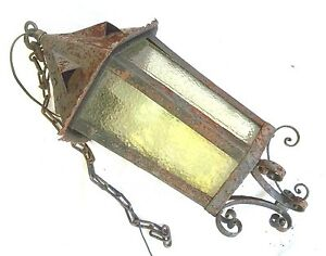 Early 20th Century Arts Crafts Mission Wrought Iron Outdoor Hanging Lantern