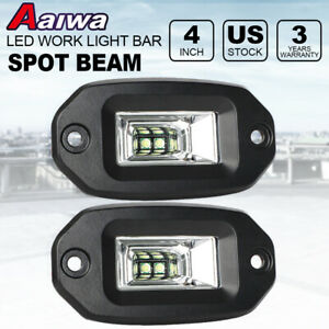 Pair 40w Spot Flood Led Work Light For Car Truck Off Road Flush Mount Lights 4