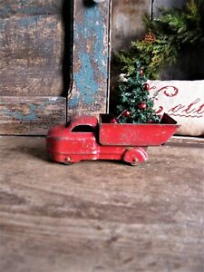Small Antique Tin Truck Original Red Paint W Christmas Tree
