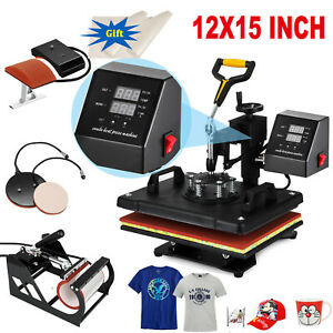 New 5in1 Digital 15 x12 Heat Press Machine Transfer Sublimation T shirt Diy