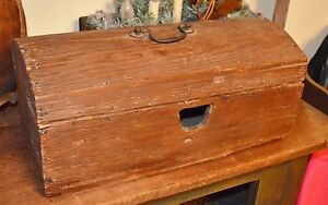 Early 1800 S Antique Domed Wood Storage Blanket Box Chest Blacksmith Nails Aafa