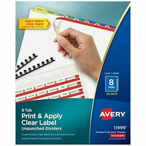 Avery 8 tab Unpunched Binder Dividers Easy Print Apply Clear Label Strip Ind
