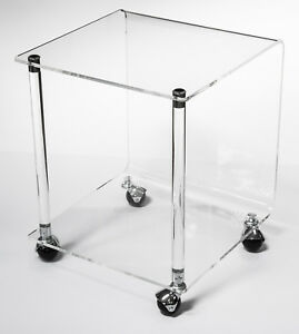 Vintage Architectural Mid Century Modern Geometric Acrylic Lucite Table