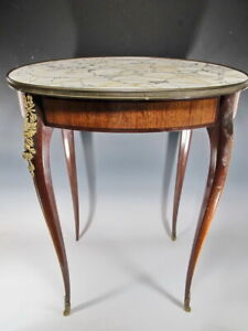 Antique French Louis Xv Style Marble Top Oval Table Sk05