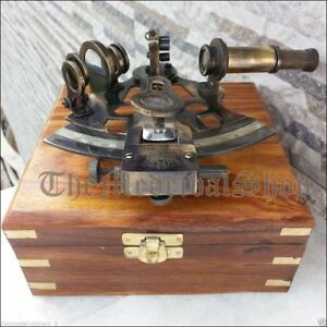German Astrolabe Marine Nautical Sextant Brass Collectible Wooden Box Gift Q119