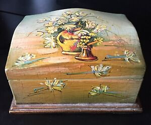 Vintage Italian Painted Wooden Box Hinged Floral