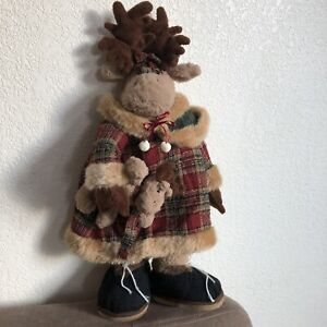 Vintage Primitive Early Style Plush Christmas Mother Deer With Baby Exc
