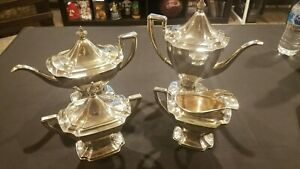 Vintage Heppelwhite 4 Piece Silver Plate Coffee Tea Set Pat 1914