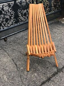 Vintage Teak Mid Century Modern Folding Chair Patio Sunroom Home Decor