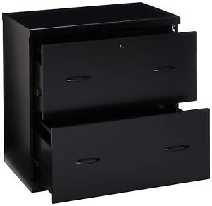 2 drawer Lateral File Cabinet Home Office Furniture Storage Lock Glides Black