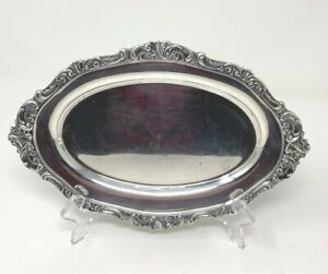 Vintage Wallace Silver Plate Baroque Serving Tray Platter Ornate Rim 10 X7