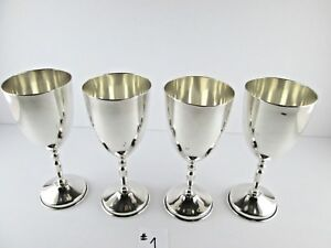 Four Heavy Mexican Sterling Silver Wine Goblets