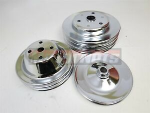 Chrome 2 Groove Long Water Pump crankshaft Pulley 3 Groove Small Block Chevy Sbc