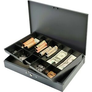 Mmf Mmf2215cbtgy Heavy Gauge Steel Cash Box With Tray Gray