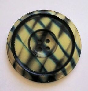 Large Plaid Celluloid Tight Top Button 1 1 2