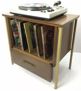Vtg Mid Century Lu Van Danish Record Stand Table Cabinet W Lp Dividers Player