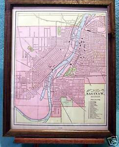Antique Framed Map Of City Of Saginaw Michigan 1889 Streets Railroads Named