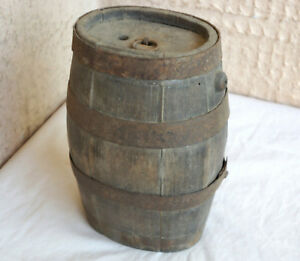 Early Primitive Wooden Keg Cask Barrel Flask Canteen Wrought Iron Banded Patina